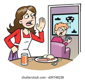 Cartoon illustration of a mother calling her videogame-playing son to the table for dinner.