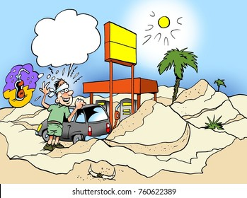 Cartoon illustration of a motorist who has gone out into the desert and just needs a bottle of water