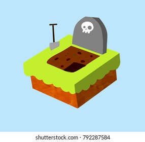 Cartoon illustration - Nice grave isometry. A gravestone with a skull pit. Green grass, shovel. Item of the funeral.
