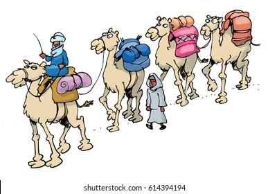 cartoon illustration od a camel train riding through the desert