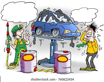 Cartoon illustration of a proud mechanic who has given a new car too much rust protection