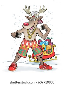 Cartoon illustration of a rapping holiday reindeer