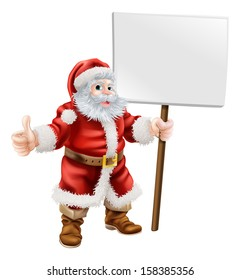 Cartoon illustration of Santa holding sign and doing thumbs up