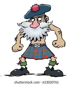 Cartoon Illustration of a Scottish person from Scotland wearing plaid tartan traditional costume dress