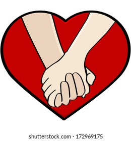 Cartoon illustration showing a close-up of a couple holding hands, framed by a heart