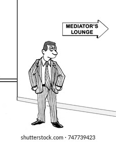Cartoon illustration showing a tired, but determined, man headed to the mediator's lounge.