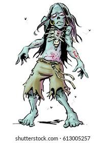 Cartoon Illustration of a shuffling Haitian zombie