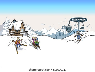 Cartoon Illustration of a ski slope landscape with log cabin lodge and ski lift with skiers
