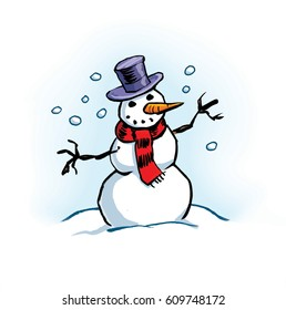 Cartoon illustration of a snowman
