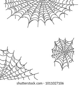 cartoon illustration - the spider's web. spooky background for Halloween. environment of the holiday. dirty corners of the house.