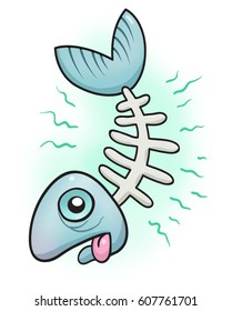 A cartoon illustration of a stinky fish head