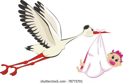 A cartoon illustration of a stork delivering a newborn baby girl