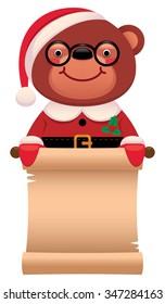 Cartoon illustration Teddy bear Santa Claus with Christmas scroll isolated on white background/Teddy bear Santa Claus with a scroll Christmas/Cartoon illustration