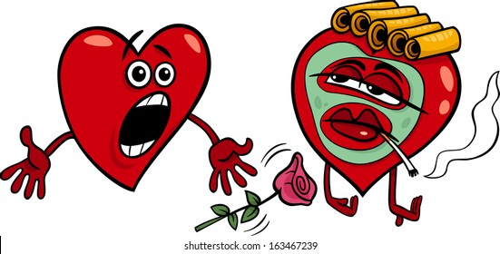 Cartoon Illustration of Terrified Male Heart and Female Heart in Cosmetic Mask and Hair Rollers on Valentine Day