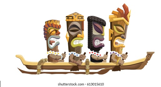 Cartoon Illustration of a Tiki family of tiki heads paddling in a canoe