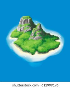 Cartoon Illustration of a tropical, volcanic  island, floating in a deep blue sea