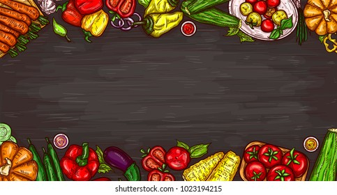 cartoon illustration of various vegetables on a wooden background, top view with copy space. Bright poster with organic food