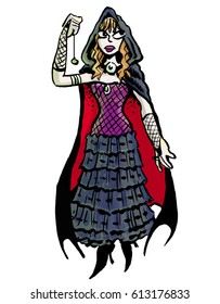 Cartoon illustration of a witchy young red haired female woman ghost hunter carrying a pendulum, wearing a black cloak, purple bodice stiletto boots
