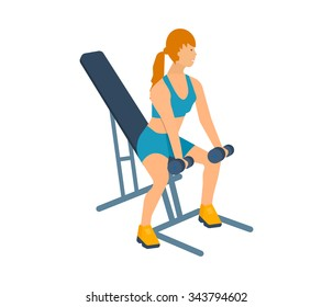 Cartoon illustration of a woman exercising with dumbbells sitting on the bench. Sport fitness friendly female