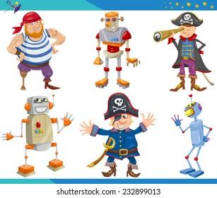 Cartoon Illustrations Set of Fairytale or Fantasy Characters