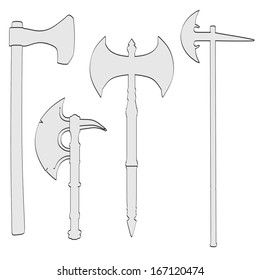 cartoon image of axe weapons