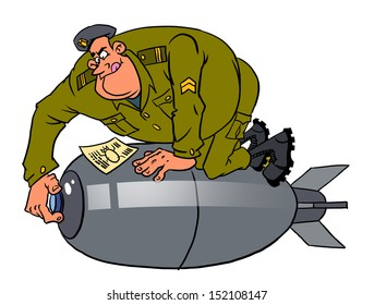 Cartoon instructor and bomb