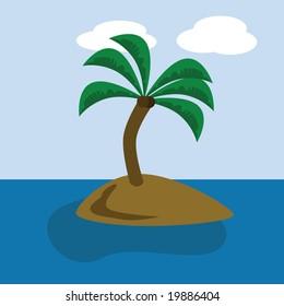 Cartoon jpeg illustration of a desert island with a coconut tree