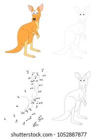 Cartoon kangaroo. Dot to dot educational game for kids