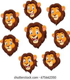 Cartoon lion head with various expression