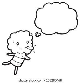 cartoon little cloud head creature sticking out tongue