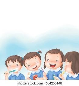 Cartoon Little girl group brushing teeth