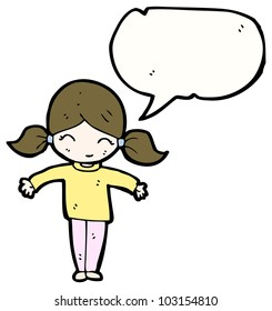 cartoon little girl with speech bubble