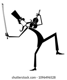 Cartoon long mustache violinist illustration isolated. Smiling mustache man in the top hat with violin and fiddlestick black on white illustration