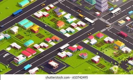 Cartoon Low Poly Isometric City 3d illustration