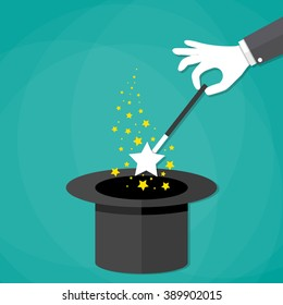 Cartoon Magicians hands in white gloves holding a magic wand with stars sparks above black magic hat. illustration in flat design on green background