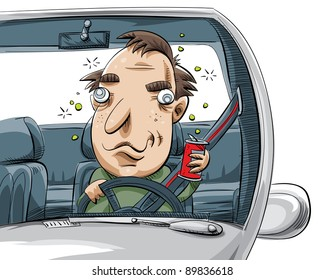 A cartoon man driving drunk.