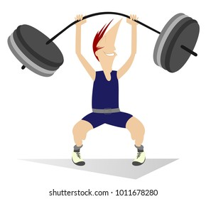 Cartoon man weightlifter. Cartoon strong smiling man is trying to lift a heavy weight isolated on white illustration