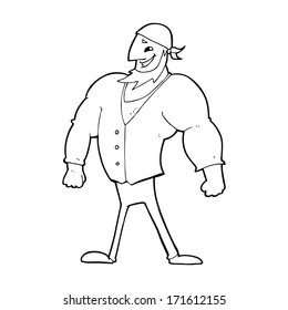 cartoon manly sailor man