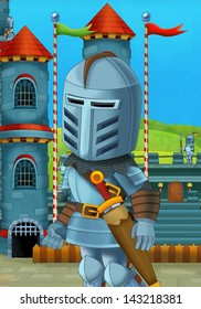 The cartoon medieval illustration of a knight - for the children