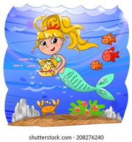 Cartoon mermaid with treasure box in the ocean. Digital illustration for children.