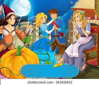 Cartoon mixed scene with poor girl and princess sorceress and with royal pair - illustration for the children