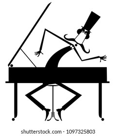 Cartoon mustache pianist is playing music on piano isolated illustration. Long mustache gentleman in the top hat is playing music on piano black on white illustration