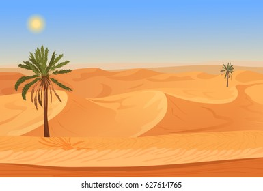 Cartoon nature sand desert landscape with palms, herbs and mountains.  game style illustration.