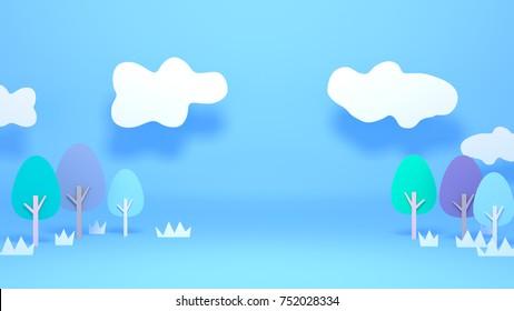Cartoon park paper crafts. 3d rendering picture.