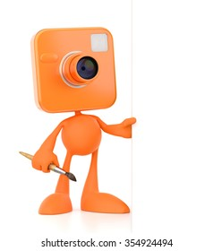 Cartoon Photopainter. Bizarre cameraman as a funny personage standing beside the blank banner and holding an artist's paintbrush. 3D rendered graphics on white background.