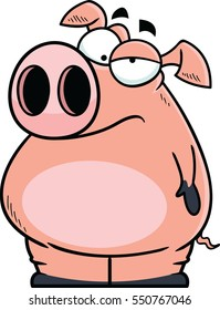Cartoon pig with an annoyed expression.