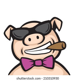 cartoon pig boss with cigar on white background