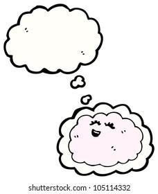 cartoon pink cloud character