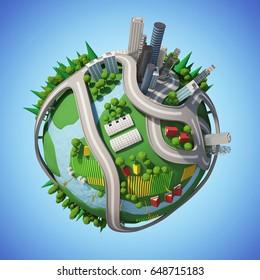 Cartoon Planet City 3D