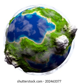Cartoon Planet earth with some clouds over white background